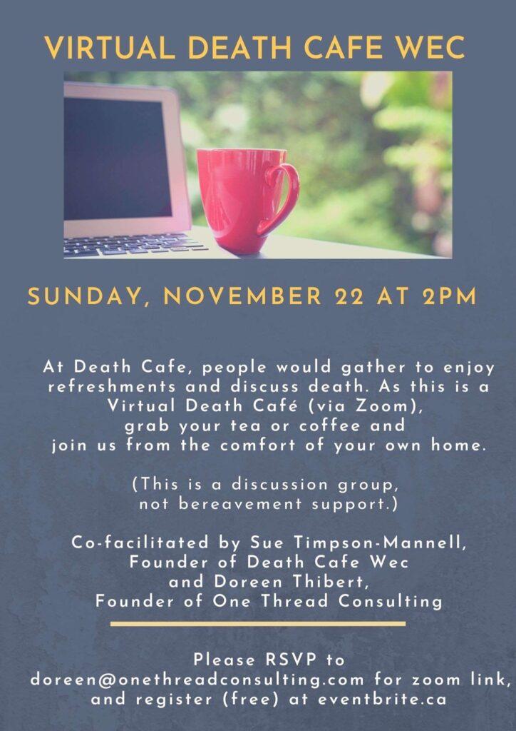 Virtual Death Cafe WEC event flyer