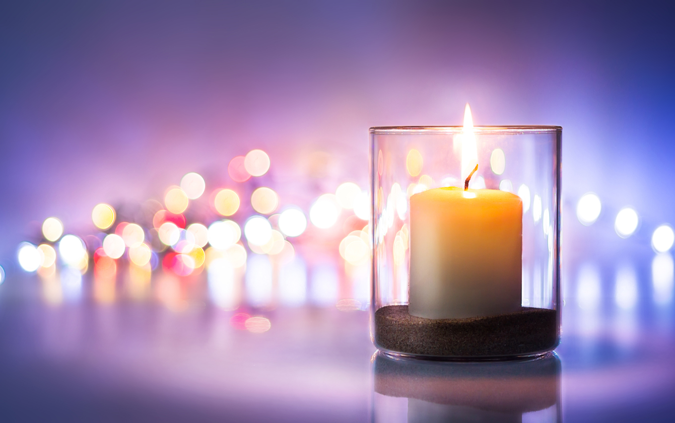 candles on a purple background