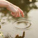 ripples from dipping finger into pond